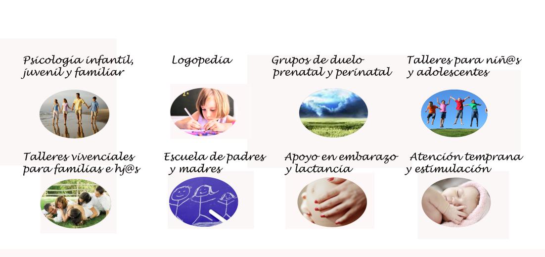 psicología infantil, logopedia, terapia familiar, habilidades sociales, atención temprana, masaje bebés, duelo perinatal, apoyo en embarazo y lactancia, talleres para familias, niños y adolescentes